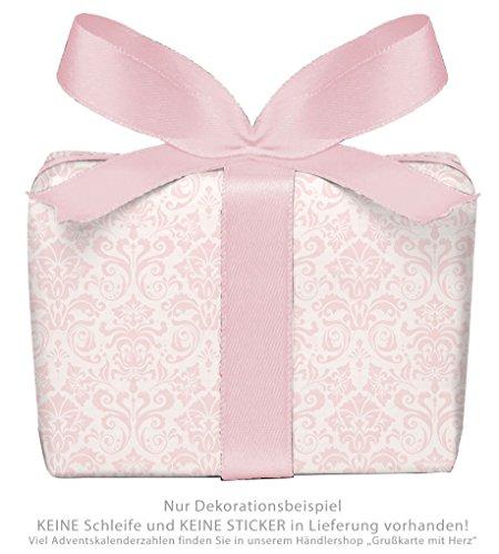 5er Set Geschenkpapier: 5 Bögen für Kinder Kindergeburtstag Baby Geburt Taufe mit ORNAMENTEN ROSA für Mädchen • Format 50 x 70 cm