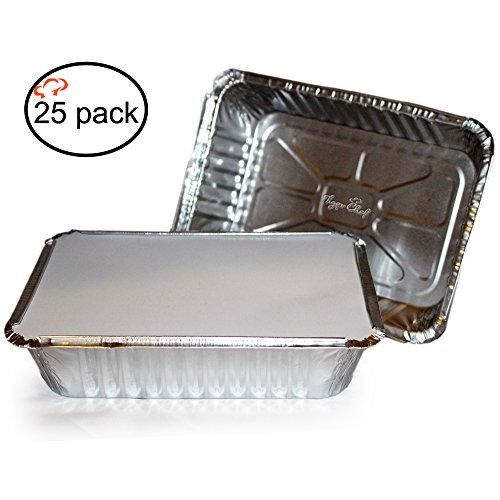 TigerChef TC-20337 Recipientes rectangulares de aluminio duradero con tapas de tablero transparente, capacidad de 2-1/4 libras, 8.44 pulgadas x 5.89 pulgadas x 1.8 pulgadas tamaño (paquete de 25)