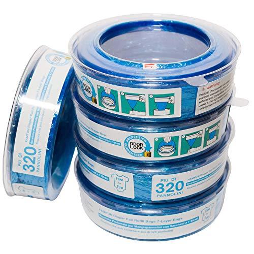 Recharges compatibles avec Poubelle à Couches Angelcare Classic et Mini & Litterlocker II, Design- Lot de 5