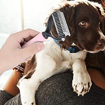 Brosse de démêlage pour animaux de compagnie, peigne de râteau de sous-poil de délestage et de délestage double face, peigne de dégraissage sûr pour chiens, chats(2# L)