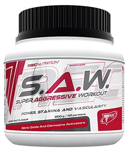 Trec Nutrition S.A.W. Muskelaufbau maximierter Fokus und massiver Pump Energy Sport Kreatin Bodybuilding 200 g Dose (Wildberry - Beeren)
