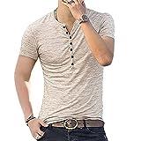Casuales Camisas Hombre Verano Moderno Slim Fit Stretch Hombre Shirt Verano Botón Placket Cómodo Hombre Manga Corta Casual Suave Transpirable Hombre Tops B-Beige M