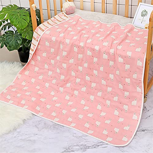 Manta de muselina para cochecito de bebé, manta de verano de 6 capas de algodón para recién nacido, manta de recepción unisex para bebé (150 x 200 cm, color rosa alpaca)