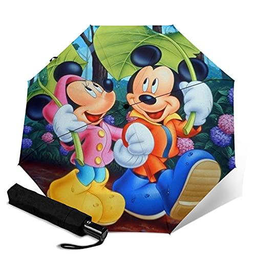 Mickey Cartoon Minnie Mouse Paraguas automático de tres pliegues plegable de viaje Capaz apertura automática botón de cierre portátil a prueba de rayos UV resistente al agua durable