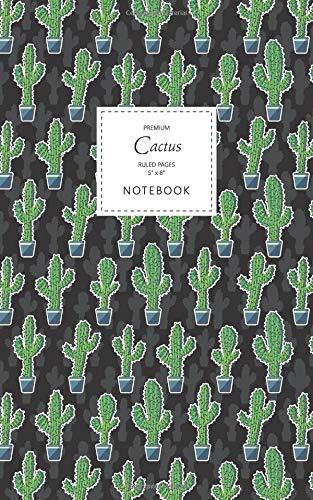 Cactus Notebook - Ruled Pages - 5x8 - Premium Cuaderno (Saguaro Night)