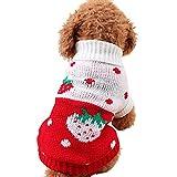Ropa Perro Pequeño Invierno Cuello Alto Jersey para Pomerania Chihuahua Yorkshire Mascota - Patrón de corazón Fresa