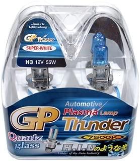 GP Thunder H3 7500K 55W Hyper White with Quartz Glass Bulbs for High Beam - Fog Lights - Day Time Running Light Audi BMW Honda Nissian Lexus Toyota Ford SGP75K-H3