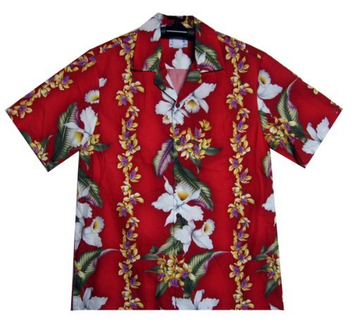 MD - Chemise Hawaienne Authentique Originale Taille 2XL, Rouge