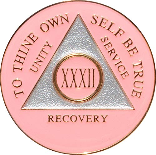 32 Year Pink Tri-Plate Alcoholics Anonymous Medallion- AA Sobriety Chip