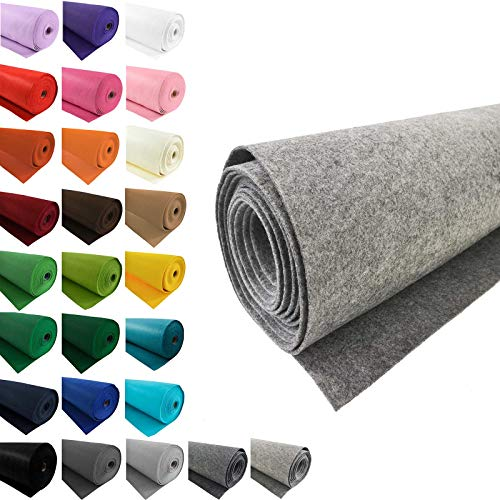 maDDma Bastelfilz 1m Meterware Filz 90cm x 3mm Dekofilz Taschenfilz Filzstoff 26 Farben, Farbe:grau meliert