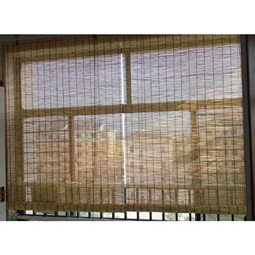 KDDFN Natürliche Rollo Bambus,Veranda Patio Roll up Shade,Sunshades Depot Außenrollo,Römischer Fenstervorhang,Atmungsaktiv,Handgewebt,für Deck Pergola Gazebo (130 * 150cm/51 * 59in)