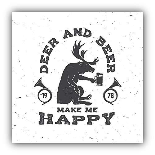 Herten en bier maken me gelukkig - zelfklevende Sticker auto raam bumper Vinyl Decal