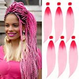 Pink Pre Stretched Braiding Hair Ombre 6 Pack EZ Crochet Braid Long Braiding Hair Pre Stretched Colorful Itch Free Synthetic Fiber Braids Hair Extensions 24 In Prestretched Braiding Hair by UPruyo