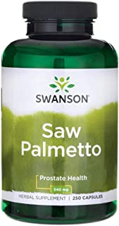 Swanson Saw Palmetto Herbal Supplement for Men Prostate Health Hair Supplement Urinary Health 540 mg 250 Ca...