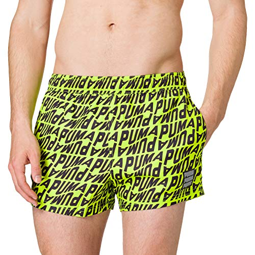 PUMA Swim Men's Wave All-Over-Print Short Swimming Shorts Bañador, Amarillo Fluorescente y Gris, M para Hombre