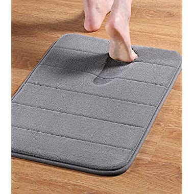24  x 17  Microfiber Memory Foam Bath Mat Anti-Skid Bottom Non-Slip Quickly Drying Dove Gray Striped Pattern