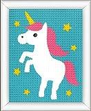 Vervaco–Kit de Punto de Cruz Unicornio, Stick de vorgezeichnet stickbildp ackung, vorbeze Cumple, algodón, Multicolor, 12.5x 16x 0,3cm