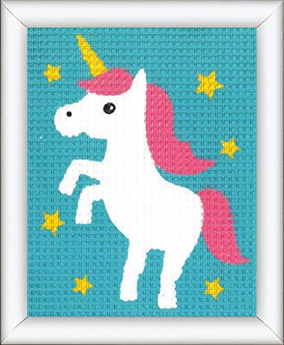 Vervaco–Kit Unicorno, Stick Immagine vorgezeichnet stickbildp ackung, vorbeze ichnet, Cotone, Multicolore, 12.5x 16x 0,3cm