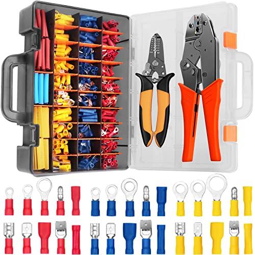 Crimpzange Isolierte Kabelschuhe Set Quetschverbinder Sortiment Kit Stoßverbinder für 0.5-6 mm² Kable,30 verschiedene Modelle Flachstecker SOMELINE 480Pcs