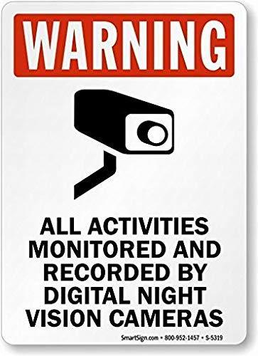 EstherMi19 Todas las actividades monitoreadas y grabadas por cámaras digitales de visión nocturna signo de advertencia de metal para la propiedad, señal de seguridad de advertencia de aluminio