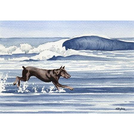 RED DOBERMAN Watercolor DOG 8 x 10 Art Print by Artist DJR