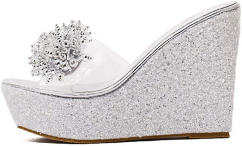 JQfashion Rhinestone Wedges Sandals Women Summer Sexy Trifle Slides Casual Beading Open Toe Female Sandals Platform shoes