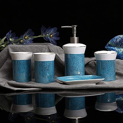 KMILE con Apariencia de mármol Incluye el dispensador de jabón Baño del Cepillo de Dientes del Cepillo de Dientes del Cepillo del Vaso. (Color : E Blue, Size : Free)