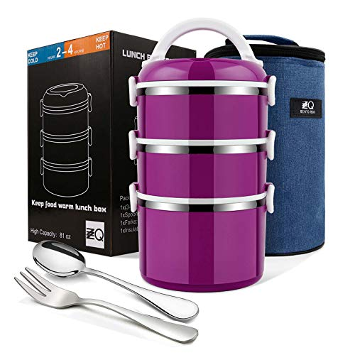 ZZQ Bento Lunch Box Stackable Stainless Steel Thermal Compartment Lunch ContainerSnack Box Leakproof Insulated BentoFood Container Storage with Lunch Bag Spoon Fork 3-Tier Purple