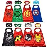Capas de superhéroe Belvita para niños, 8 héroes reversibles de satén capas y máscaras para disfraces (4 capas, 8 máscaras)