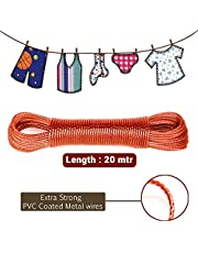 Moira 20 Meter PVC Coated Steel Anti-Rust Wire Rope Washing Line Clothesline with 2 Plastic Hooks