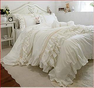Juego de ropa de cama de matrimonio, estilo shabby marfil, 200 x 200 cm, funda nórdica/colcha de 220 x 240 cm, fundas de almohada de 74 x 47 cm
