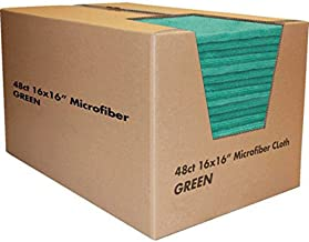 Zwipes Professional H1-745 Premium Microfiber Cleaning Cloth Towel Case, 16x16 inch, 48-Pack, Green