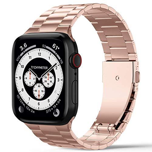 Correa ultrafina para Iwatch Band Pulsera de eslabones de acero inoxidable para Apple Watch Se Bands Serie 6 5 4 3 44 mm 40 mm 42 mm 38 mm Cinturón-s-oro rosa, serie 4 5 40 mm