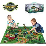 TEMI Dinosaur Toy Figure w/ Activity Play Mat & Trees, Educational Realistic Dinosaur Playset to Create a Dino World...