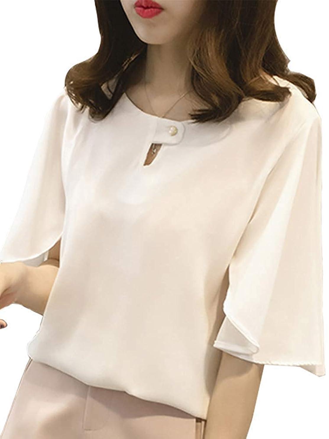 考案する実証する落ち着かない[ニーマンバイ] フレア袖 ドレスシャツ 半袖 とろみ素材 シフォン ブラウス かわいい レディース M?4XL