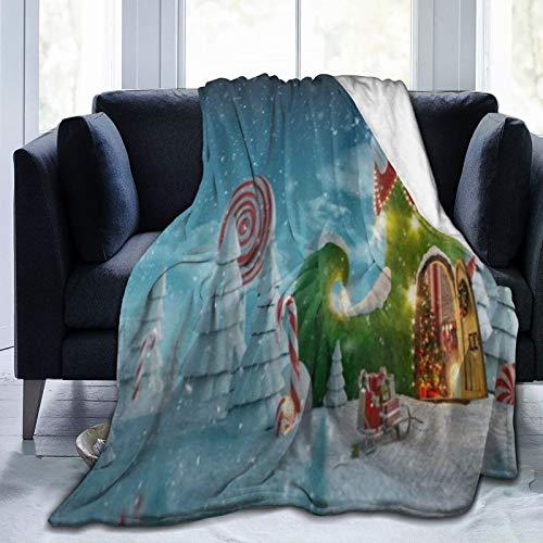 KOSALAER Bedding Manta,Casa de Hadas de Zapatos de Elfos navideños,Mantas cálidas de Sala de Estar/Dormitorio Ultra Suaves para Todas Las Estaciones