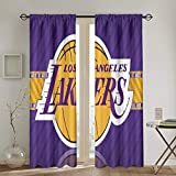 Dopy Los Angeles Curtain 2 Panels Bedroom Room Basketball Decorative Window 90% Blackout for Living Room Thermal Insulated Privacy 52 X 72 Inch
