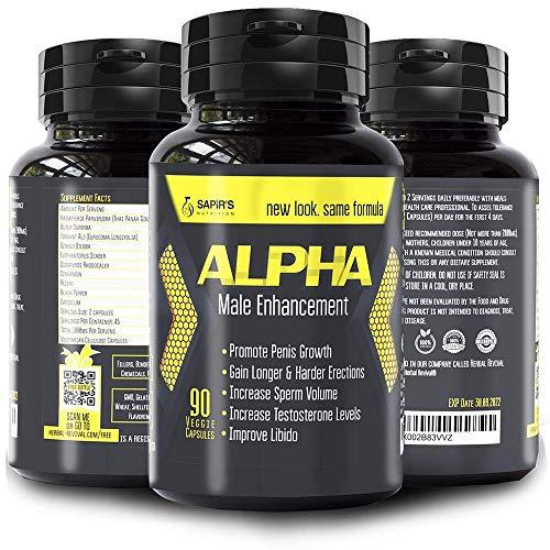 ALPHA MALE Enlargement Pills For Men - Natural Stamina For Men, Male Testosterone Booster, 90 Capsules, Workout Supplements For Men, Male Performance Enhancement Pills, Blood Flow Pills For Men