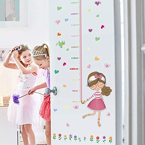TAOYUE Cartoon Girls Wall Stickers Height Ruler Measure Children's Room Kids Room Nursery for Party Decoration Art Mural Poster