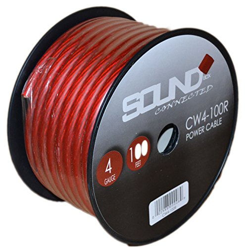 SoundBox Connected 4 Gauge Red Amplifier Amp Power/Ground Wire 100 Feet SuperFlex Cable 100' Spool