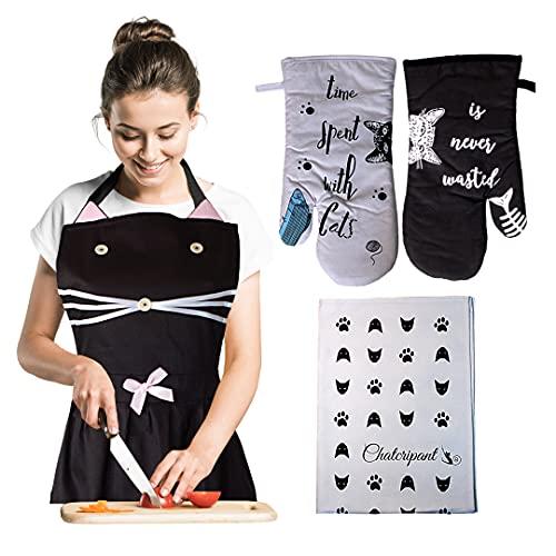 Grembiule da cucina con gatto nero, guanti da cucina anti calore e strofinaccio, motivo gatto, per...