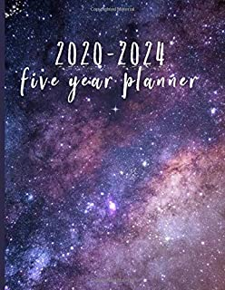 2020-2024 Five Year Planner: Monthly Schedule, Organizer, 60 Months Calendar, Personal, Agenda, Logbook, Appointment, Notebook, Journal, For The Next 5 Years. Purple, Galaxy