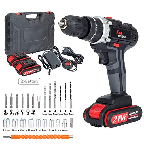 Cordless Drill Driver Kit with 2 Batteries, King Showden 21V Power Drill 50Nm 25+3 Clutch, 3/8' Keyless Chuck, Variable Speed & Built-in LED Electric Screw Driver