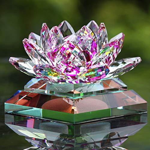 HUANLEGOU Wohnaccessoires Kreative Statuen Auto Dekoration Sitz Crystal Lotus Auto Parfüm Flasche Auto Interieur Liefert Kreative Ornamente Geschenke Home Dekoration, Lila
