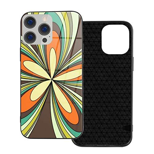 MEUYGOFLZ Compatible con iPhone 12 Pro Max, carcasa de cuerpo completo, carcasa de cristal TPU suave para iPhone 12 Pro Max 6.7 pulgadas, retro primavera hippie Flower Power