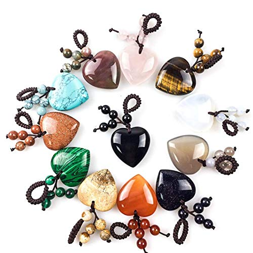 FISH4 30Mm Hand Craft Natural Stone Keychains Handbag Purse Holder Healingheart Dangle Es Pink Quartz Turquoises Stone Key Chains-Red