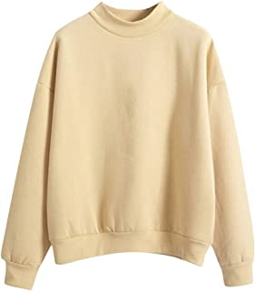 Women Sweatshirt, O-Neck Solid Color Turtleneck Long Sleeve Plus Velvet Sweatshirt Rishine