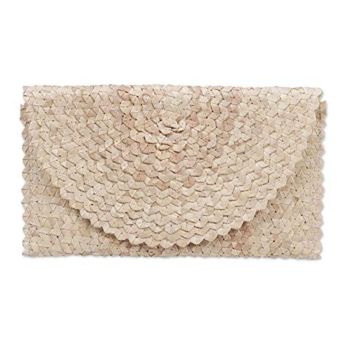 NOVICA Off White Ivory Hand Woven Palm Leaf Clutch Handbag, Trance In Ivory'