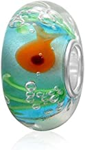 Glass Charms Little Goldfish Swimming in The Transparent Pond Charm 925 Sterling Silver Core Flower