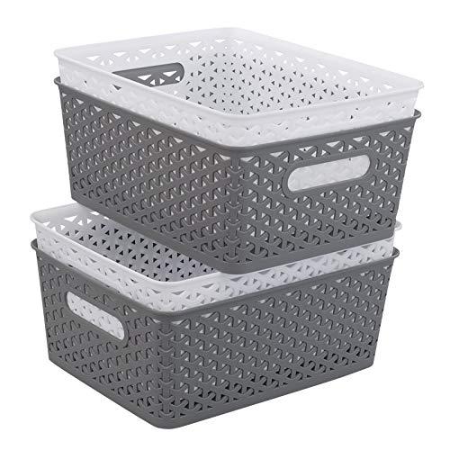 Ponpong Cesta de Almacenamiento Tejida de Plástico de 8 Litros, Blanco y Gris Medio, 4 Paquetes